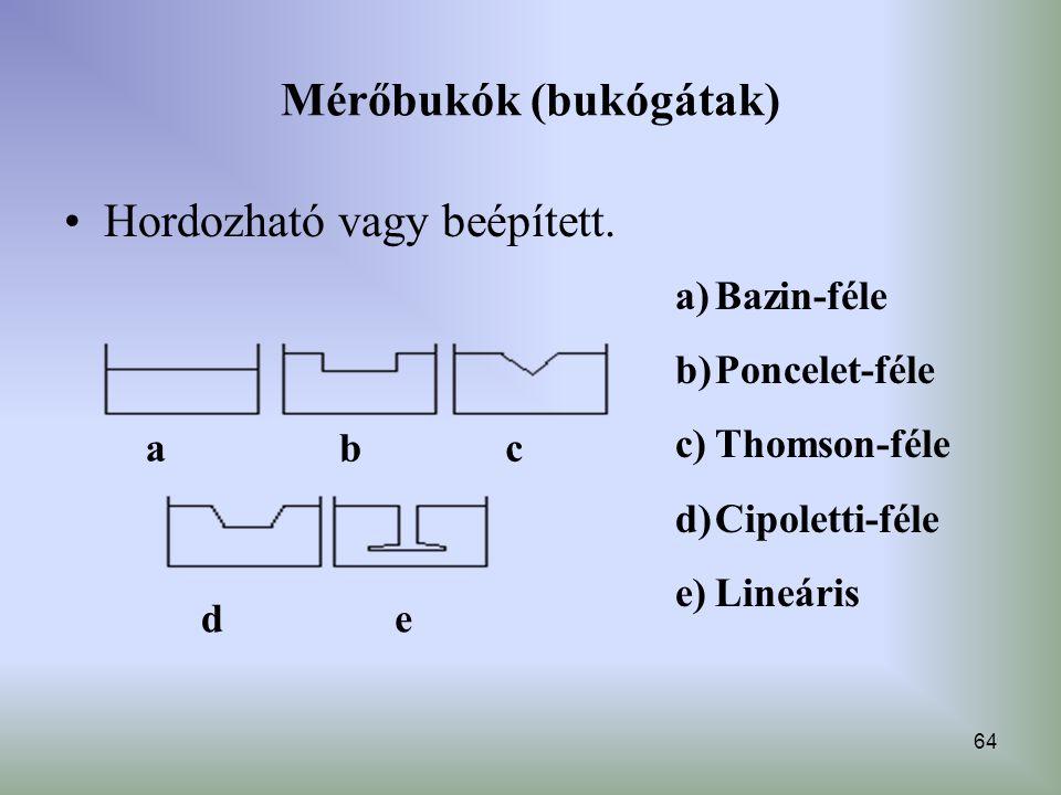64 Mérőbukók (bukógátak) Hordozható vagy beépített. abc de a)Bazin-féle b)Poncelet-féle c)Thomson-féle d)Cipoletti-féle e)Lineáris