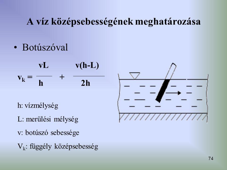 74 A víz középsebességének meghatározása Botúszóval h: vízmélység L: merülési mélység v: botúszó sebessége V k : függély középsebesség v(h-L) 2hh vL v