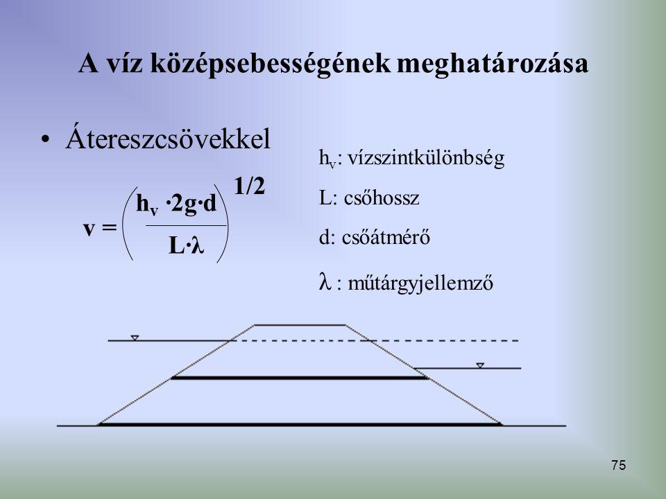 75 A víz középsebességének meghatározása Átereszcsövekkel h v : vízszintkülönbség L: csőhossz d: csőátmérő λ : műtárgyjellemző 1/2 L·λL·λ v = h v ·2g·
