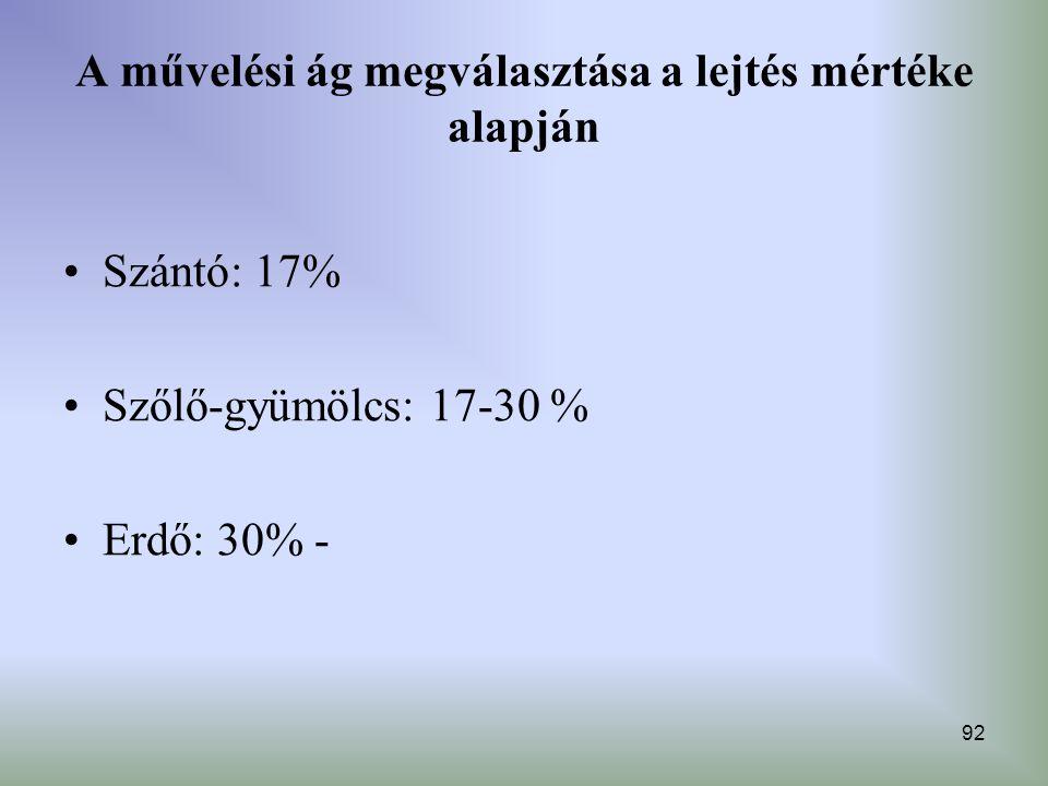 92 A művelési ág megválasztása a lejtés mértéke alapján Szántó: 17% Szőlő-gyümölcs: 17-30 % Erdő: 30% -