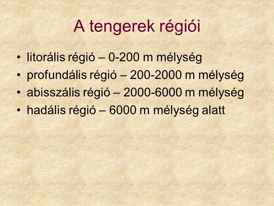 A tengerek régiói litorális régió – 0-200 m mélység profundális régió – 200-2000 m mélység abisszális régió – 2000-6000 m mélység hadális régió – 6000 m mélység alatt