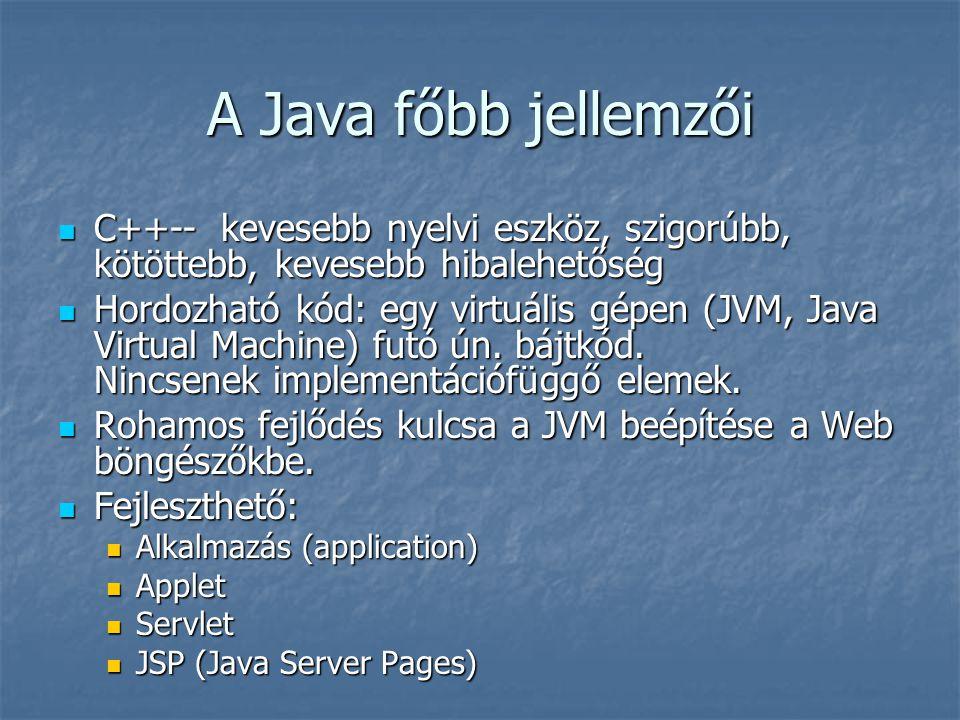 A Java főbb jellemzői C++-- kevesebb nyelvi eszköz, szigorúbb, kötöttebb, kevesebb hibalehetőség C++-- kevesebb nyelvi eszköz, szigorúbb, kötöttebb, kevesebb hibalehetőség Hordozható kód: egy virtuális gépen (JVM, Java Virtual Machine) futó ún.