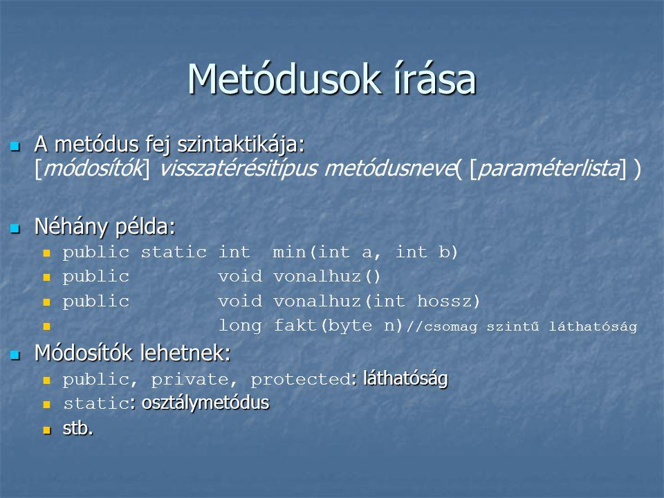 Metódusok írása A metódus fej szintaktikája: A metódus fej szintaktikája: [módosítók] visszatérésitípus metódusneve( [paraméterlista] ) Néhány példa: Néhány példa: public static int min(int a, int b) public void vonalhuz() public void vonalhuz(int hossz) long fakt(byte n) //csomag szintű láthatóság Módosítók lehetnek: Módosítók lehetnek: : láthatóság public, private, protected : láthatóság : osztálymetódus static : osztálymetódus stb.