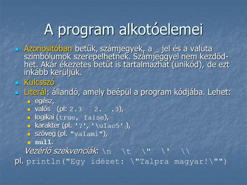 A program alkotóelemei Azonosítóban betűk, számjegyek, a _ jel és a valuta szimbólumok szerepelhetnek.