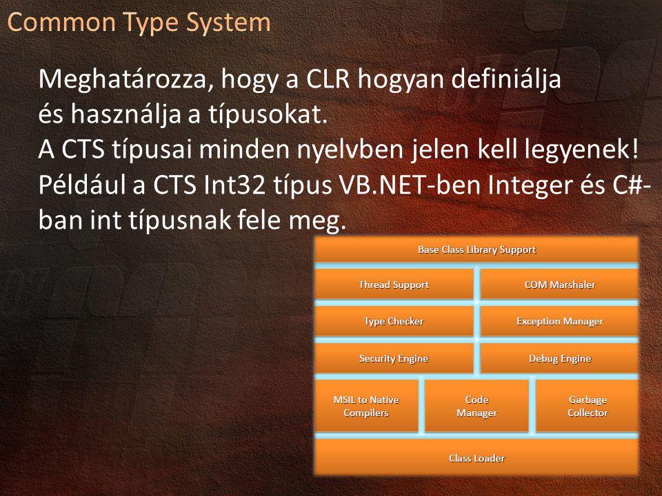Meghatározza, hogy a CLR hogyan definiálja és használja a típusokat.
