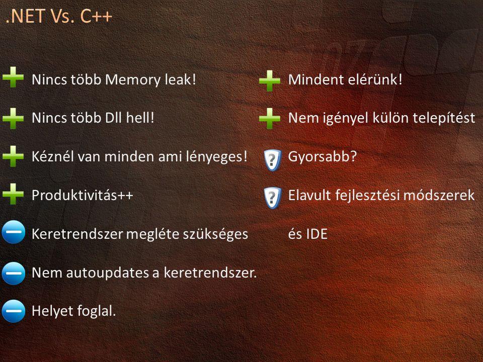 Nincs több Memory leak.Nincs több Dll hell. Kéznél van minden ami lényeges.