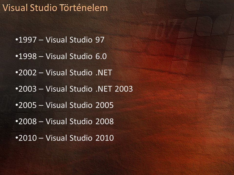 1997 – Visual Studio 97 1998 – Visual Studio 6.0 2002 – Visual Studio.NET 2003 – Visual Studio.NET 2003 2005 – Visual Studio 2005 2008 – Visual Studio