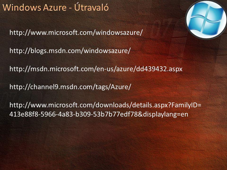 http://www.microsoft.com/windowsazure/ http://blogs.msdn.com/windowsazure/ http://msdn.microsoft.com/en-us/azure/dd439432.aspx http://channel9.msdn.com/tags/Azure/ http://www.microsoft.com/downloads/details.aspx?FamilyID= 413e88f8-5966-4a83-b309-53b7b77edf78&displaylang=en