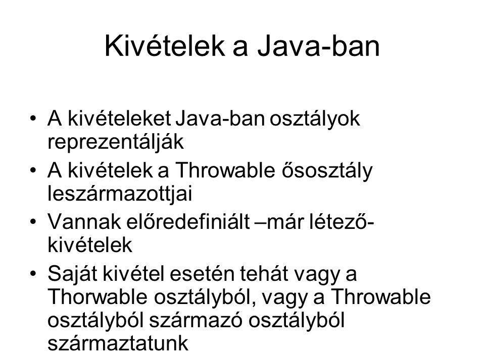 Kivételek a Java-ban A kivételeket Java-ban osztályok reprezentálják A kivételek a Throwable ősosztály leszármazottjai Vannak előredefiniált –már léte