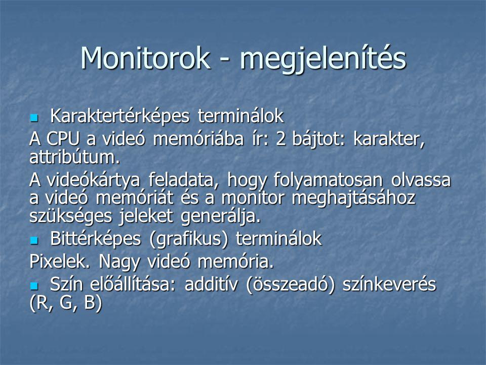 Monitorok - megjelenítés Karaktertérképes terminálok Karaktertérképes terminálok A CPU a videó memóriába ír: 2 bájtot: karakter, attribútum.