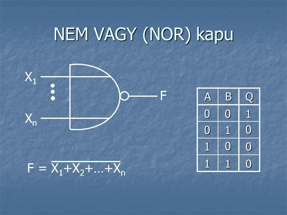NEM VAGY (NOR) kapu X1X1 F = X 1 +X 2 +…+X n F XnXn ABQ 0 0 1 0 0 0 1 0 1 0 1 1