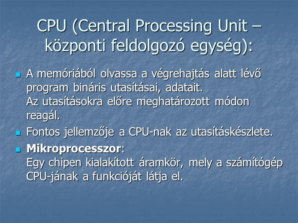 CPU (Central Processing Unit – központi feldolgozó egység): A memóriából olvassa a végrehajtás alatt lévő program bináris utasításai, adatait.