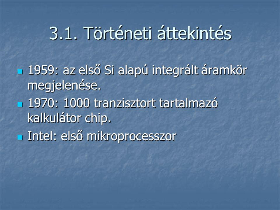 3.1.Történeti áttekintés 1959: az első Si alapú integrált áramkör megjelenése.