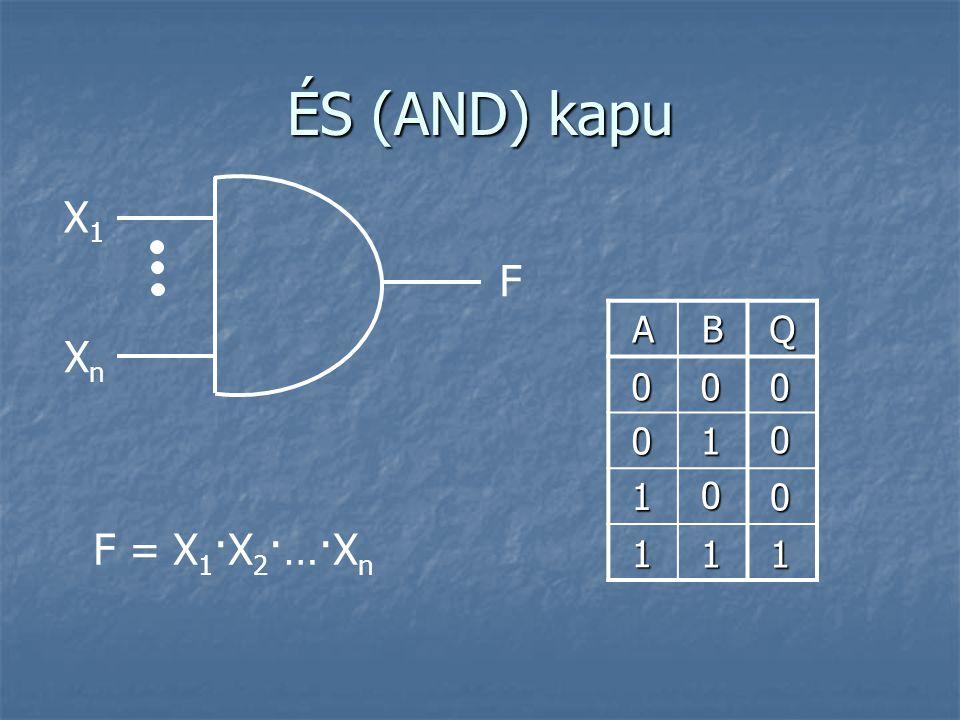 VAGY (OR) kapu X1X1 F = X 1 +X 2 +…+X n F XnXn ABQ 0 0 0 1 1 1 1 0 1 0 1 1