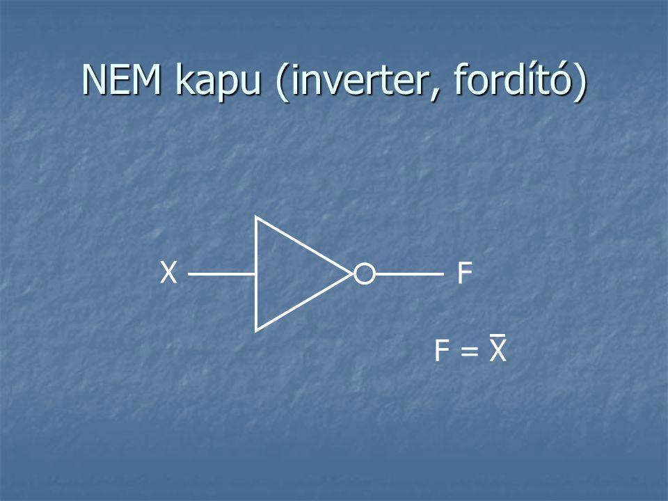 NEM ÉS (NAND) kapu X1X1 F = X 1 ·X 2 ·…·X n F XnXn ABQ 0 0 1 1 1 0 1 0 1 0 1 1 A legolcsóbb logikai kapu