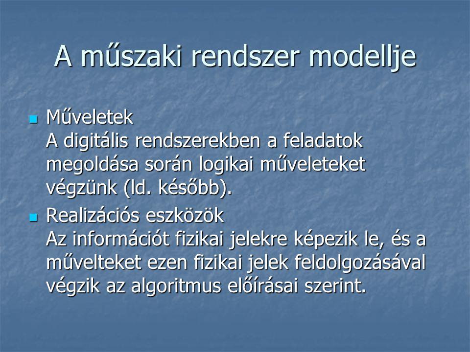A műszaki rendszer modellje Műveletek A digitális rendszerekben a feladatok megoldása során logikai műveleteket végzünk (ld. később). Műveletek A digi