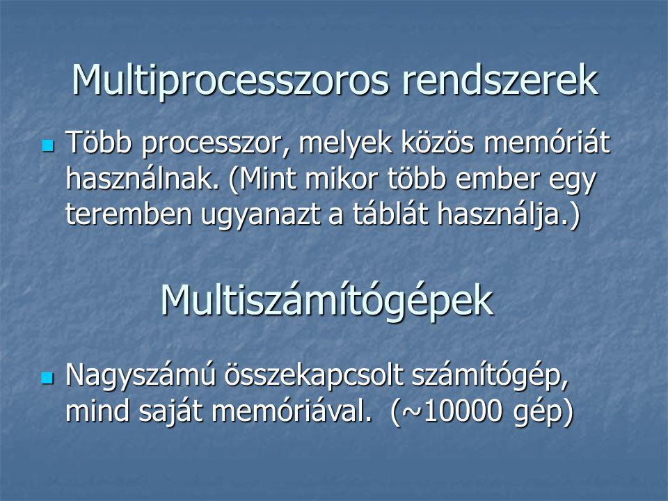 Multiprocesszoros rendszerek Több processzor, melyek közös memóriát használnak. (Mint mikor több ember egy teremben ugyanazt a táblát használja.) Több