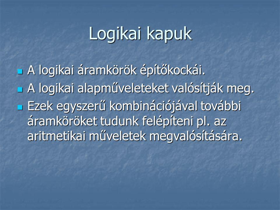 Logikai kapuk A logikai áramkörök építőkockái. A logikai áramkörök építőkockái. A logikai alapműveleteket valósítják meg. A logikai alapműveleteket va