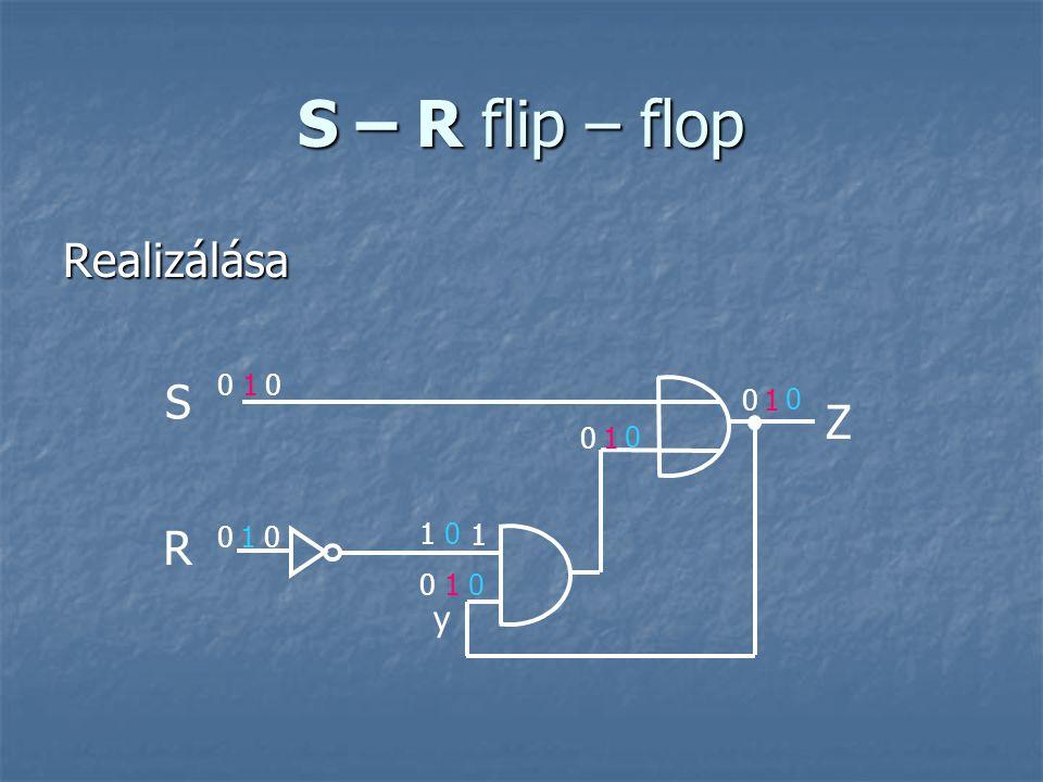S – R flip – flop Realizálása R S Z y 0 0 1 0 0 0 1 1 1 1 0 1 0 0 0 0 0 1
