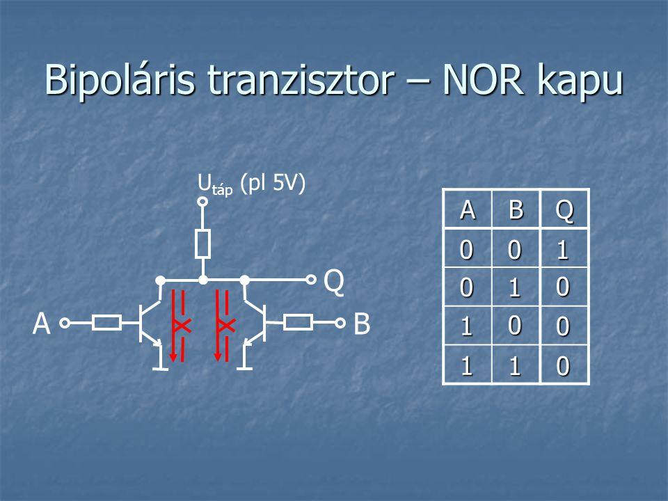 Bipoláris tranzisztor – NOR kapu ABQ A U táp (pl 5V) B Q 0 0 1 0 0 0 1 0 1 0 1 1