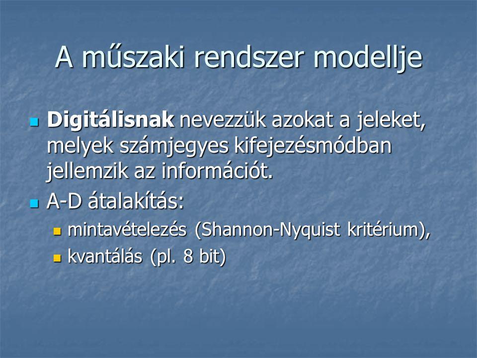 A műszaki rendszer modellje Digitálisnak nevezzük azokat a jeleket, melyek számjegyes kifejezésmódban jellemzik az információt. Digitálisnak nevezzük