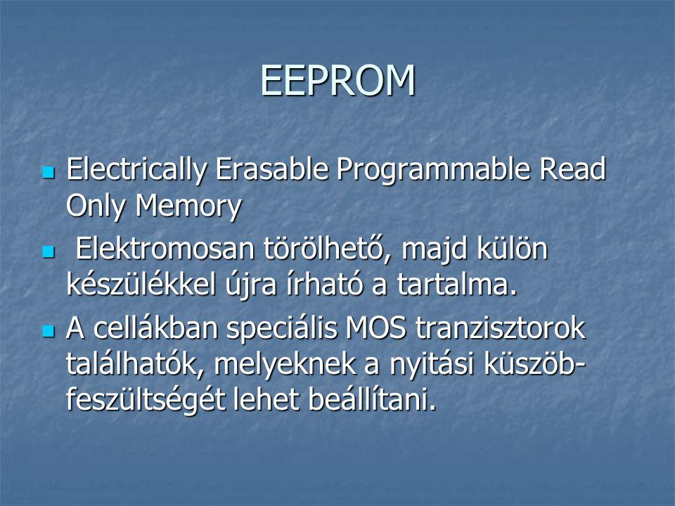 EEPROM Electrically Erasable Programmable Read Only Memory Electrically Erasable Programmable Read Only Memory Elektromosan törölhető, majd külön kész