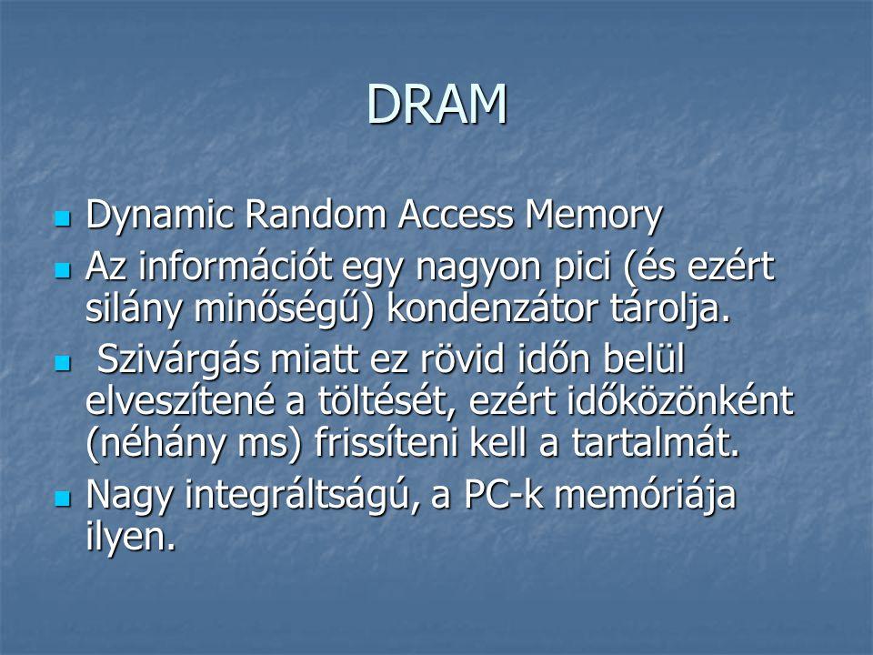 DRAM Dynamic Random Access Memory Dynamic Random Access Memory Az információt egy nagyon pici (és ezért silány minőségű) kondenzátor tárolja. Az infor