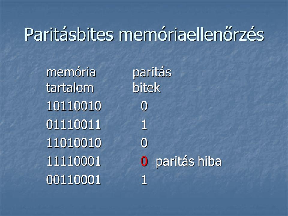 Paritásbites memóriaellenőrzés memória paritás tartalom bitek 10110010 0 01110011 1 11010010 0 11110001 0 paritás hiba 00110001 1