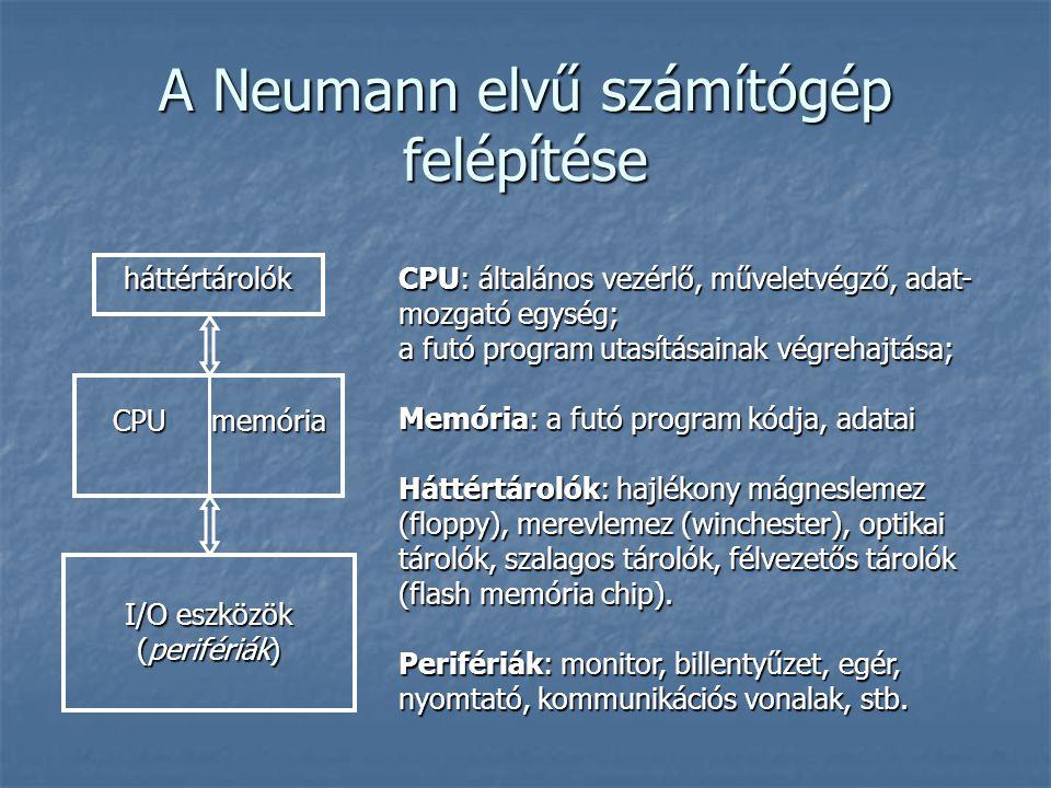 A Neumann elvű számítógép felépítése CPUmemória CPU memória háttértárolók I/O eszközök (perifériák) CPU: általános vezérlő, műveletvégző, adat- mozgat