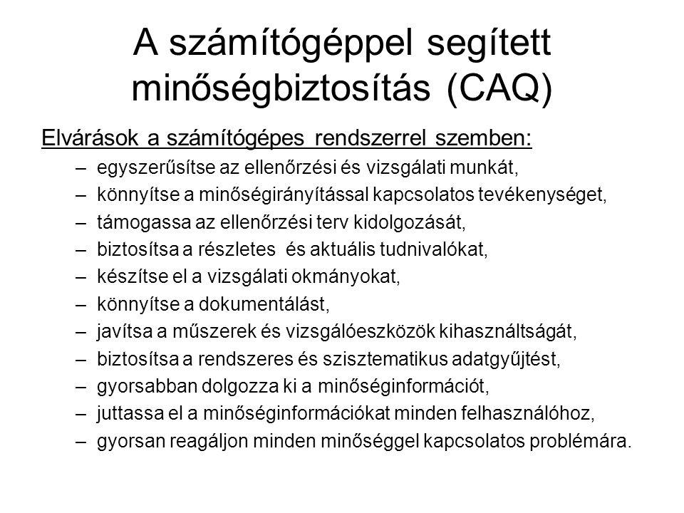A számítógéppel segített minőségbiztosítás (CAQ) Elvárások a számítógépes rendszerrel szemben: –egyszerűsítse az ellenőrzési és vizsgálati munkát, –kö