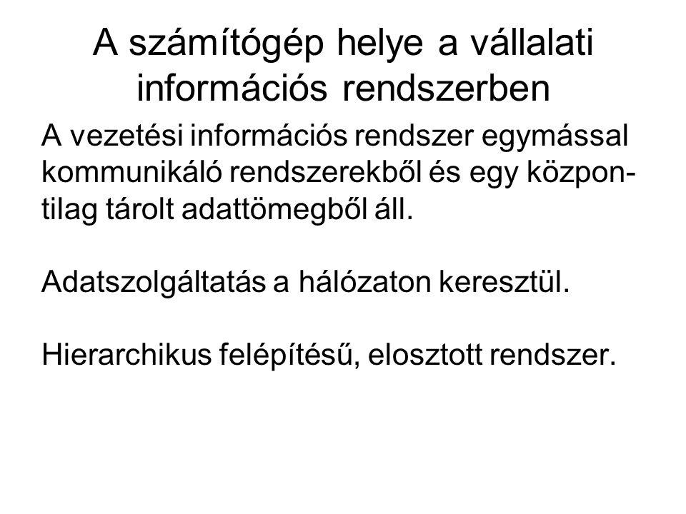 A vállalati adatbank Adattárolás az integrált információs rendszerben: file-hierarchiákat kell létrehozni, adatbankokat kell szervezni a file- hierarchiákból, adatbankrendszer szervezése adatbankokból.
