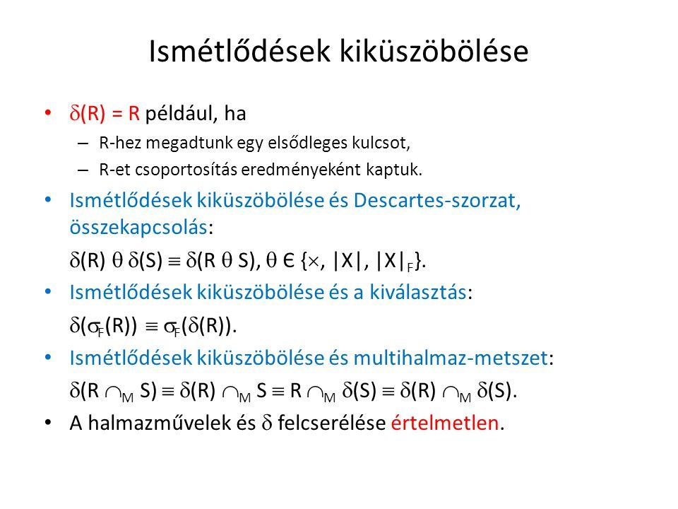 Ismétlődések kiküszöbölése  (R) = R például, ha – R-hez megadtunk egy elsődleges kulcsot, – R-et csoportosítás eredményeként kaptuk. Ismétlődések kik