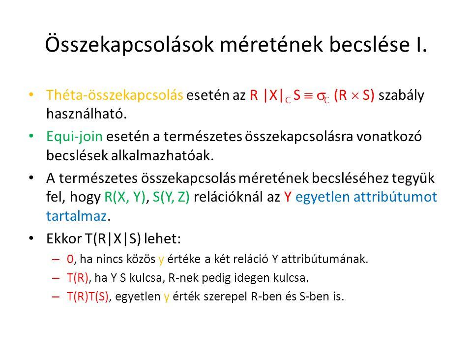 Összekapcsolások méretének becslése I. Théta-összekapcsolás esetén az R |X| C S   C (R  S) szabály használható. Equi-join esetén a természetes össz
