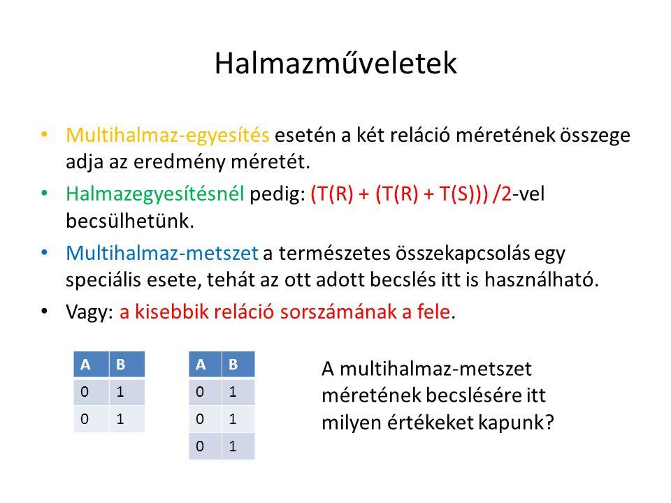 Halmazműveletek Multihalmaz-egyesítés esetén a két reláció méretének összege adja az eredmény méretét. Halmazegyesítésnél pedig: (T(R) + (T(R) + T(S))