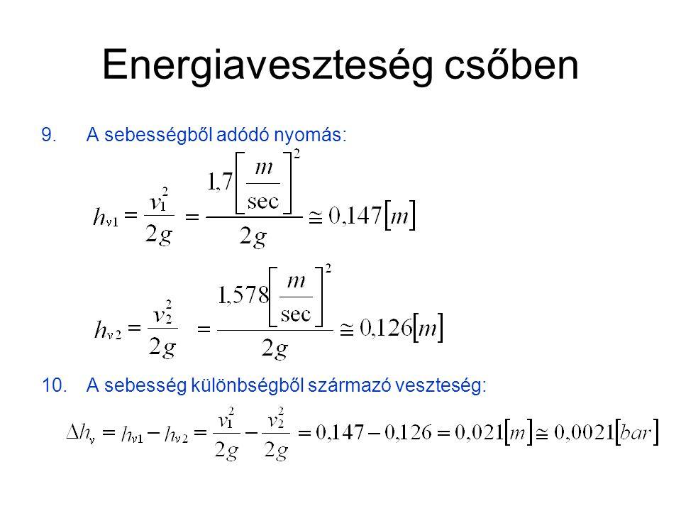 Energiaveszteség csőben 11.Nyomás a C pontban: (mivel a sebesség különbségből adódó  h v veszteség nagyon kicsi, ezért elhanyagolható)
