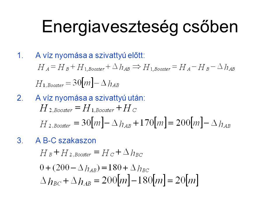 Energiaveszteség csőben 4.A teljes csőhossz: 5.A nyomásveszteség : Táblázat alapján J=8[‰] és D=250[mm] esetén a térfogatáramlás 250[m 3 /h].
