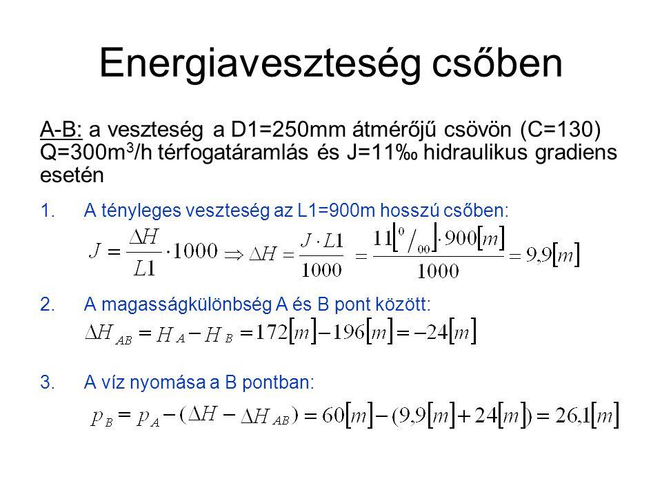 Energiaveszteség csőben B-C: a veszteség a D2=150mm átmérőjű csövön (C=130), Q=100m 3 /h térfogatáramlás és J=18‰ hidraulikus gradiens esetén: 4.A tényleges veszteség az L2=200m hosszú csőben: 5.A magasságkülönbség A és B pont között: 6.A víz nyomása a B pontban: