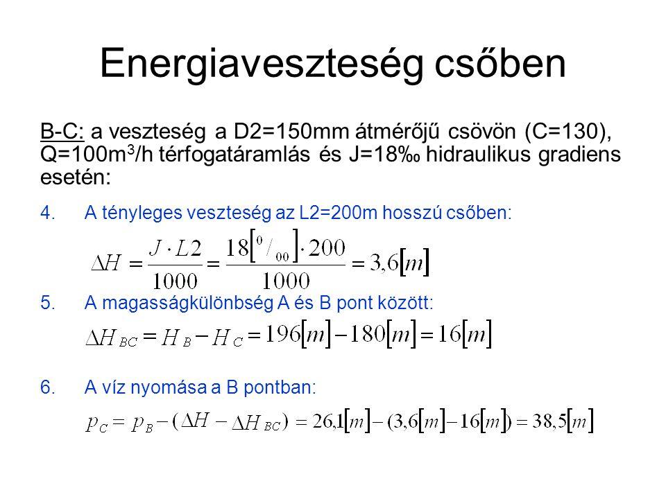 Energiaveszteség csőben A számítás a Bernoulli-egyenlettel is elvégezhető a B és C pontra: 7.Áramlási sebesség a 250mm átmérőjű csőben:
