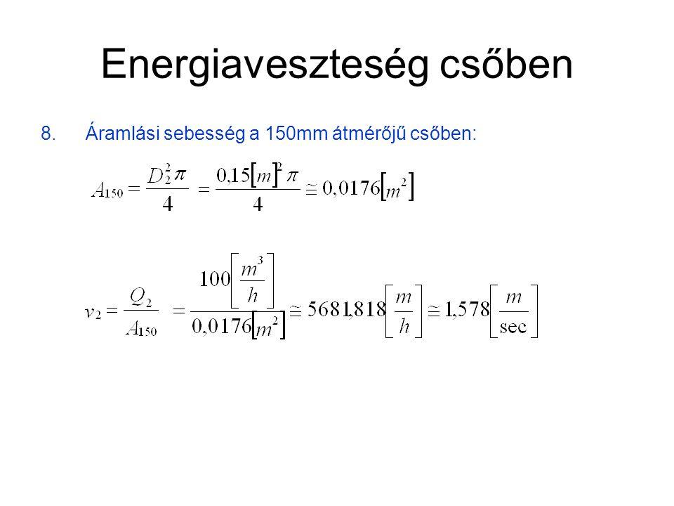 Energiaveszteség csőben 9.A sebességből adódó nyomás: 10.A sebesség különbségből származó veszteség: