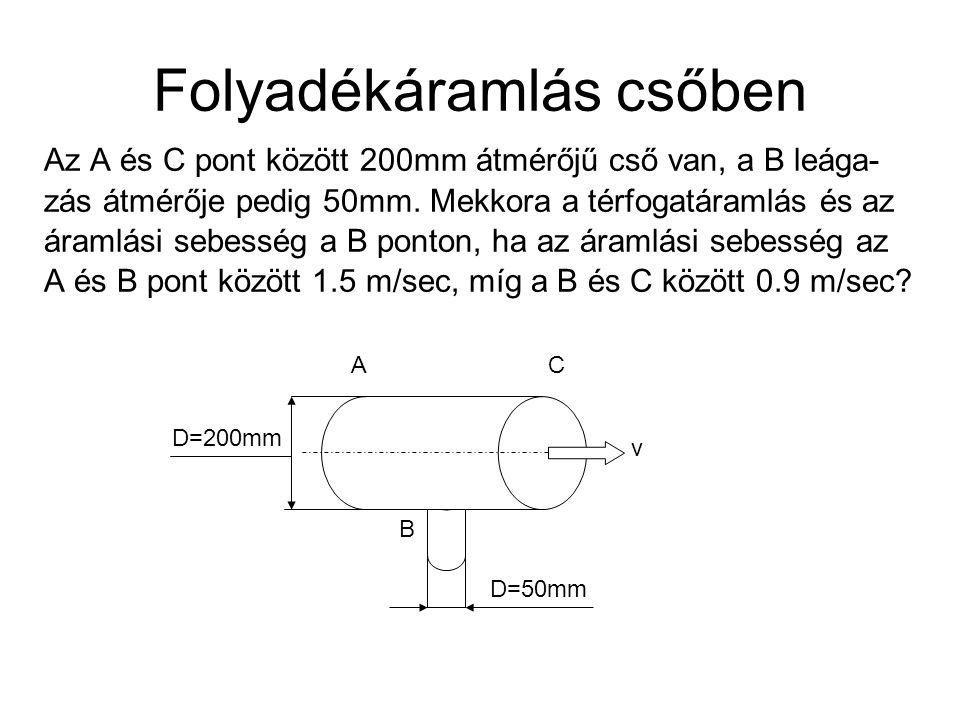 Folyadékáramlás csőben Az A és C pont között 200mm átmérőjű cső van, a B leága- zás átmérője pedig 50mm.