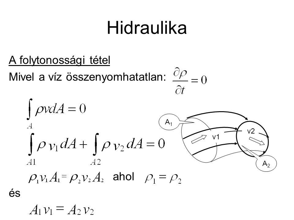 Hidraulika A folytonossági tétel Mivel a víz összenyomhatatlan: ahol és v1 v2 A2A2 A1A1