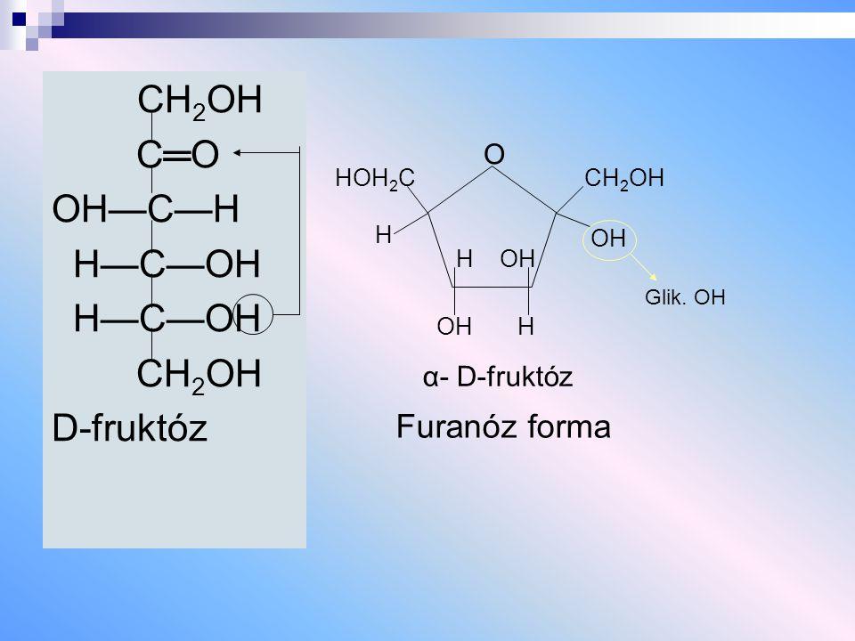 CH 2 OH C═O OH—C—H H—C—OH CH 2 OH D-fruktóz Furanóz forma HOH 2 C H O OH H H OH CH 2 OH OH Glik. OH α- D-fruktóz