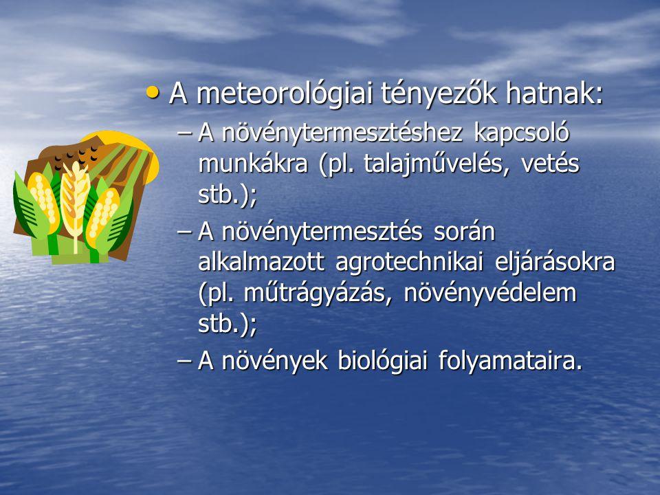 Különböző jellemző értékek: Különböző jellemző értékek: –Hőmérsékleti összegek: Pozitív hőmérsékletek összege, Pozitív hőmérsékletek összege, Negatív hőmérsékletek összege, Negatív hőmérsékletek összege, Aktív hőmérsékleti összeg, Aktív hőmérsékleti összeg, Effektív hőmérsékleti összeg.