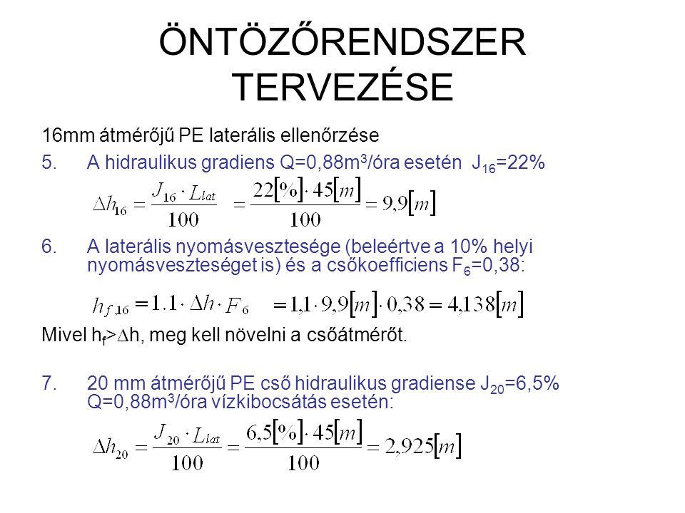 ÖNTÖZŐRENDSZER TERVEZÉSE 8.