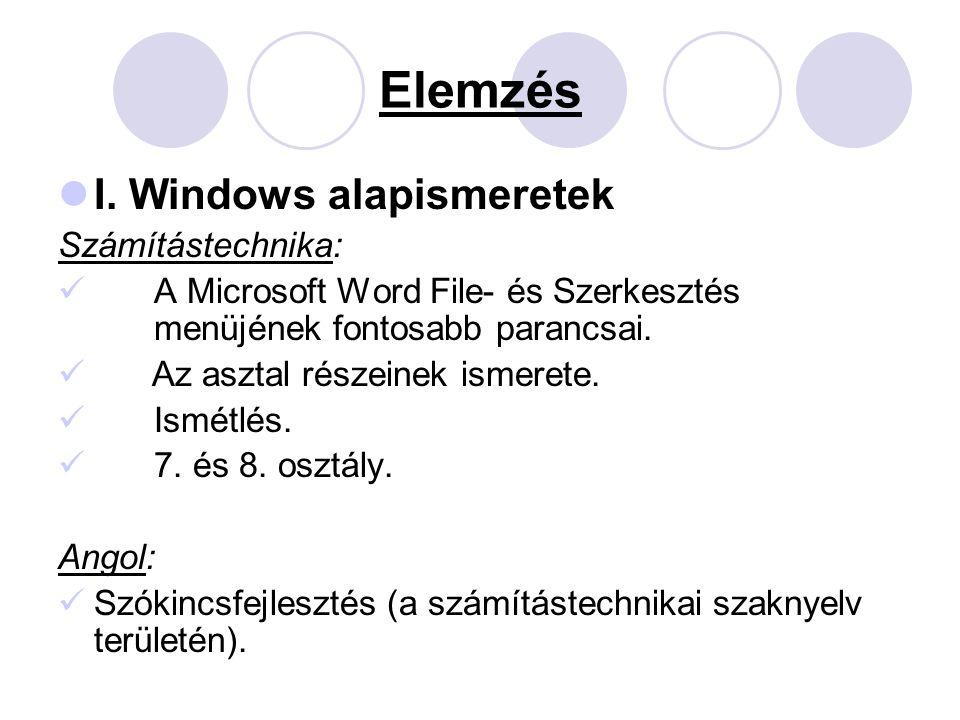 Elemzés I. Windows alapismeretek Számítástechnika: A Microsoft Word File- és Szerkesztés menüjének fontosabb parancsai. Az asztal részeinek ismerete.