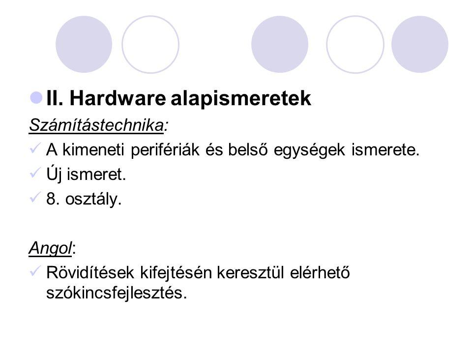 II. Hardware alapismeretek Számítástechnika: A kimeneti perifériák és belső egységek ismerete. Új ismeret. 8. osztály. Angol: Rövidítések kifejtésén k