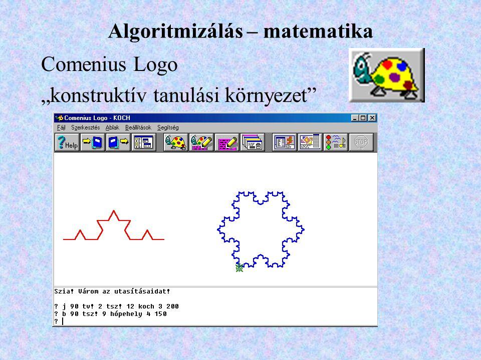 """Comenius Logo """"konstruktív tanulási környezet Algoritmizálás – matematika"""