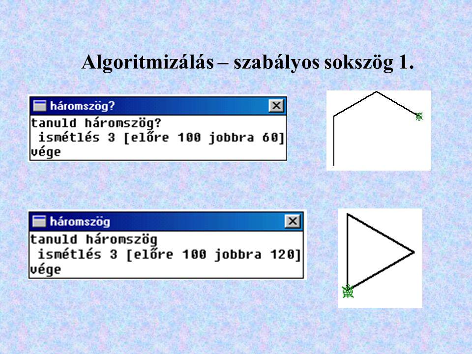 Algoritmizálás – szabályos sokszög 1.
