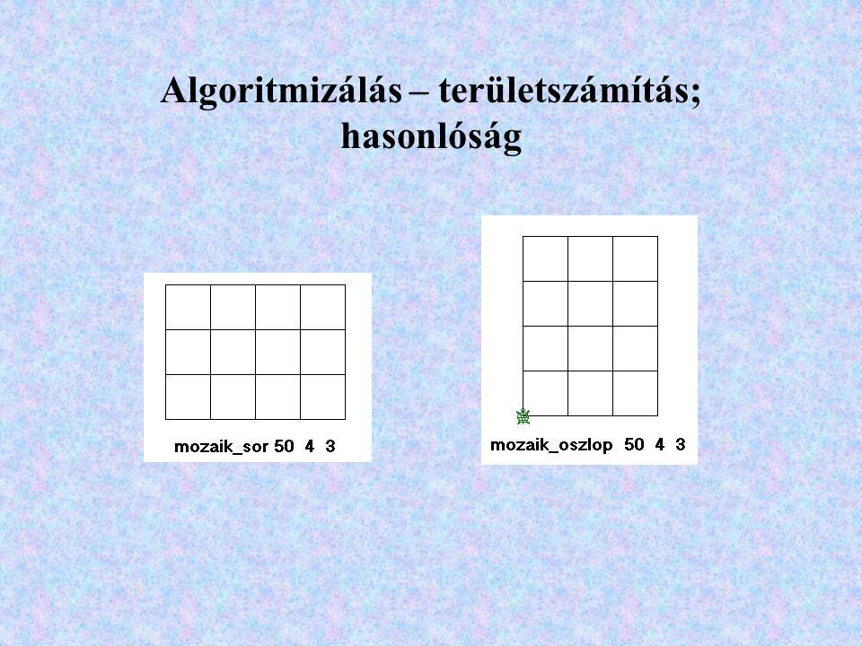 Algoritmizálás – területszámítás; hasonlóság