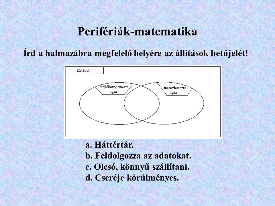 Írd a halmazábra megfelelő helyére az állítások betűjelét.